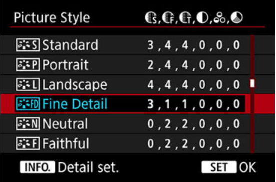 Picture profile settings